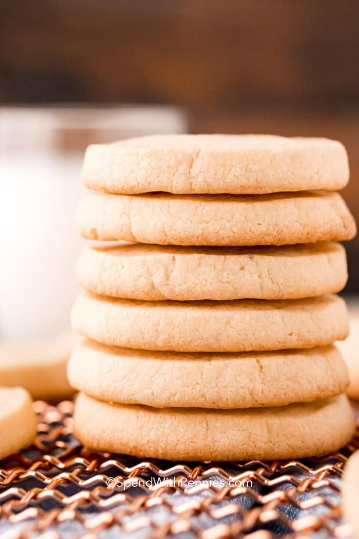 a stack of icebox cookies with butter