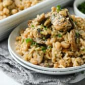 Chicken mushroom casserole on a white plate