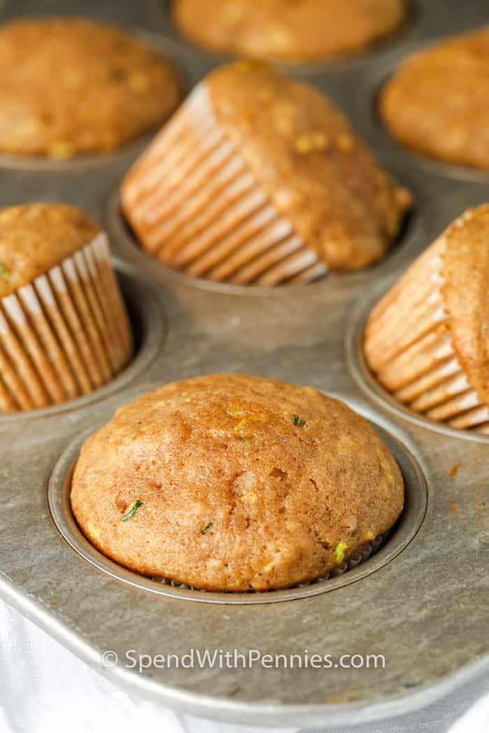 Zucchini Chocolate Chip Muffins in the muffin tin