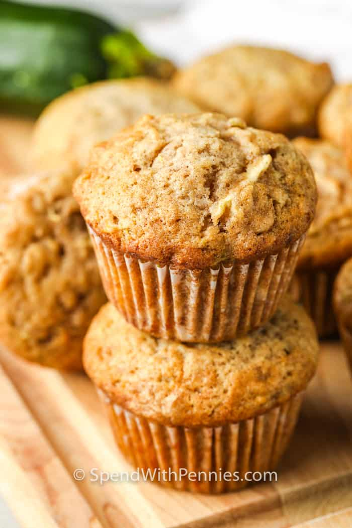 close up of two Zucchini Chocolate Chip Muffins