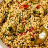 Zucchini Orzo being served.