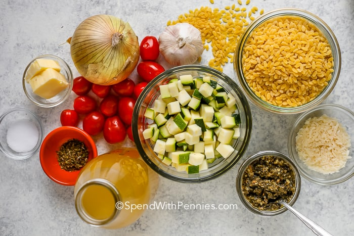 overview of zucchini orzo ingredients