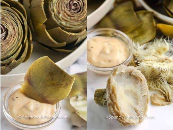 artichoke petals in dip and the heart on a board