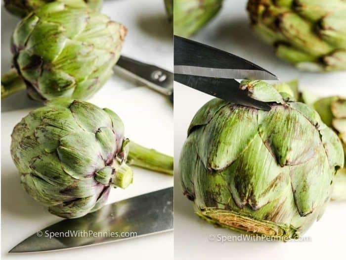 cutting an artichoke