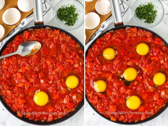 Placing cracked eggs in red pepper tomato sauce for shakshuka