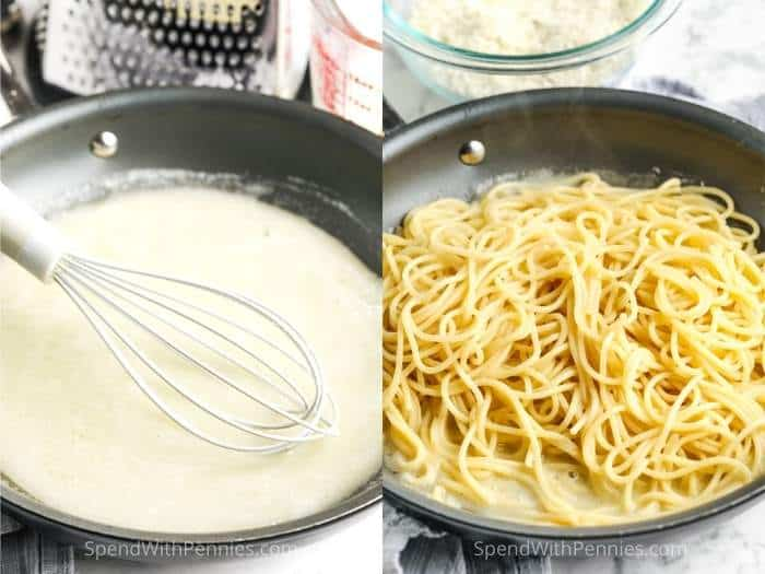 adding spaghetti to sauce to make Cacio e Pepe