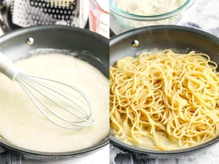 adding spaghetti to sauce to make Cacio e Pepe
