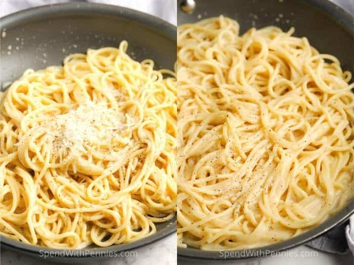 process of adding cheese to pot to make Cacio e Pepe