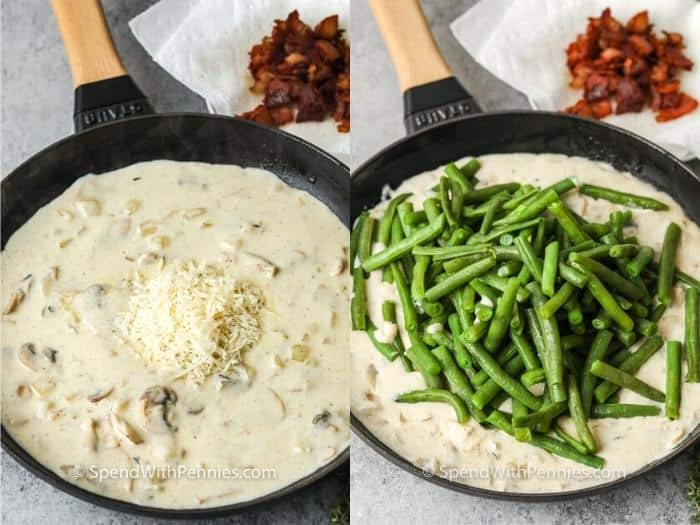 process of adding ingredients to pan to make Homemade Green Bean Casserole