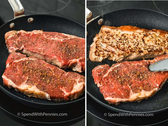 Steaks in a frying pan being seared