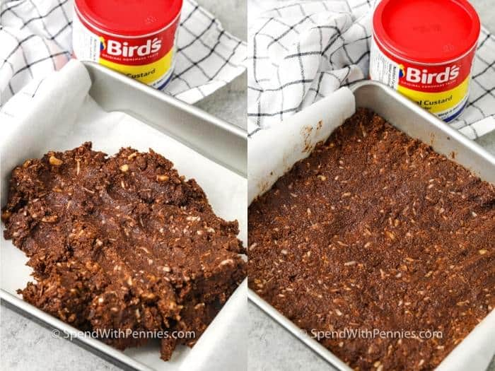 spreading batter on pan to make Nanaimo Bars