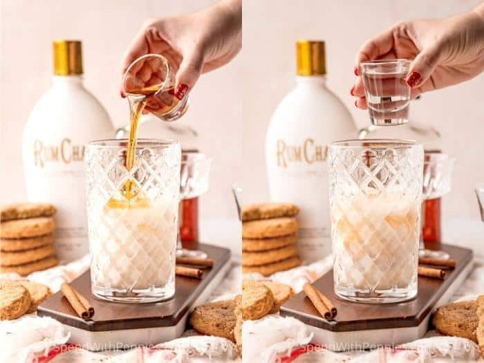 adding final ingredients to glass to make a Snickerdoodle Cocktail