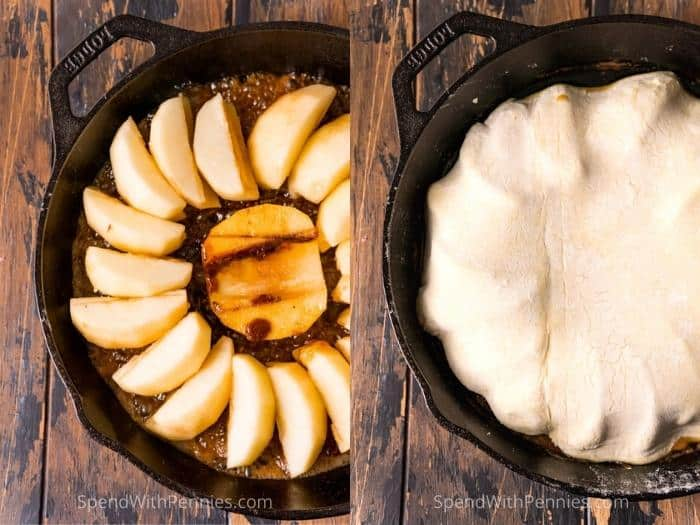 process of adding apples and crust to make Tarte Tatin