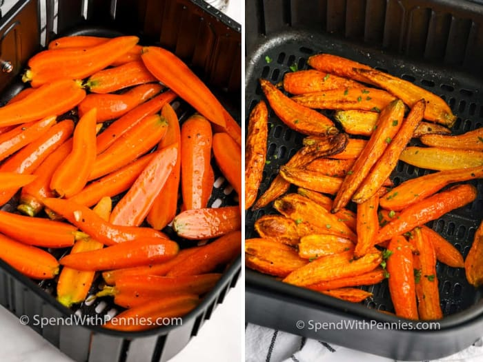 carrots in the air fryer before and after cooking