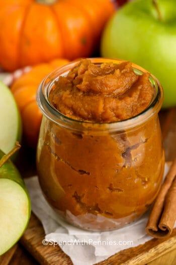Apple Pumpkin Butter in a glass jar