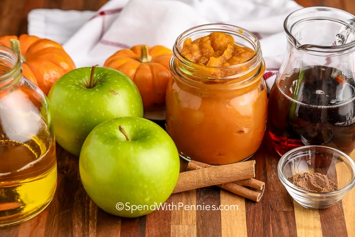 ingredients for Apple Pumpkin Butter on a wooden board