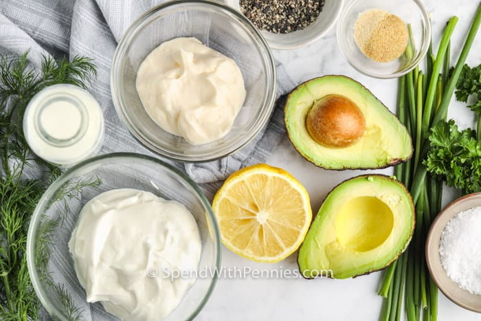 top view of ingredients to make Avocado Ranch Dressing on a table