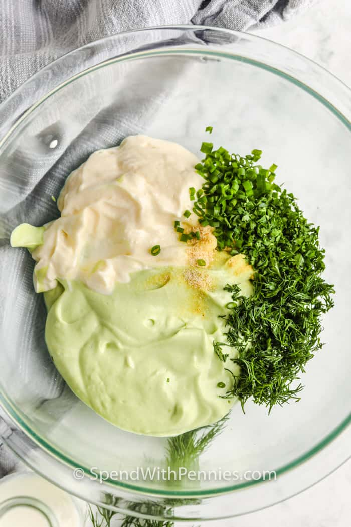 ingredients in a glass bowl to make Avocado Ranch Dressing