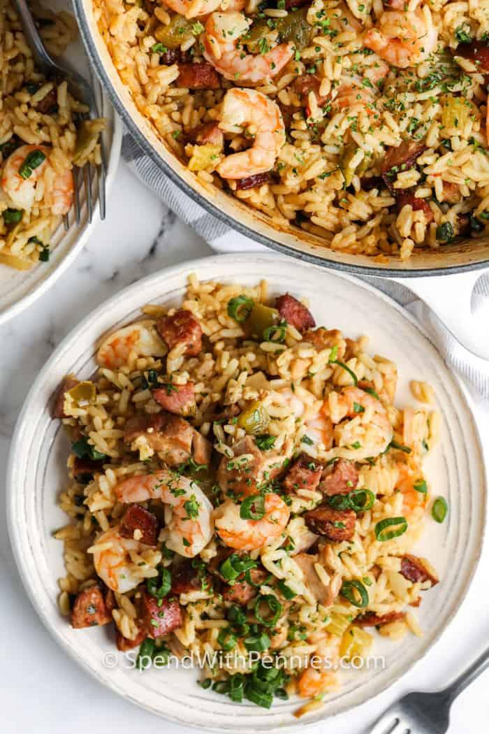 plated Cajun Jambalaya with a bowl full beside it
