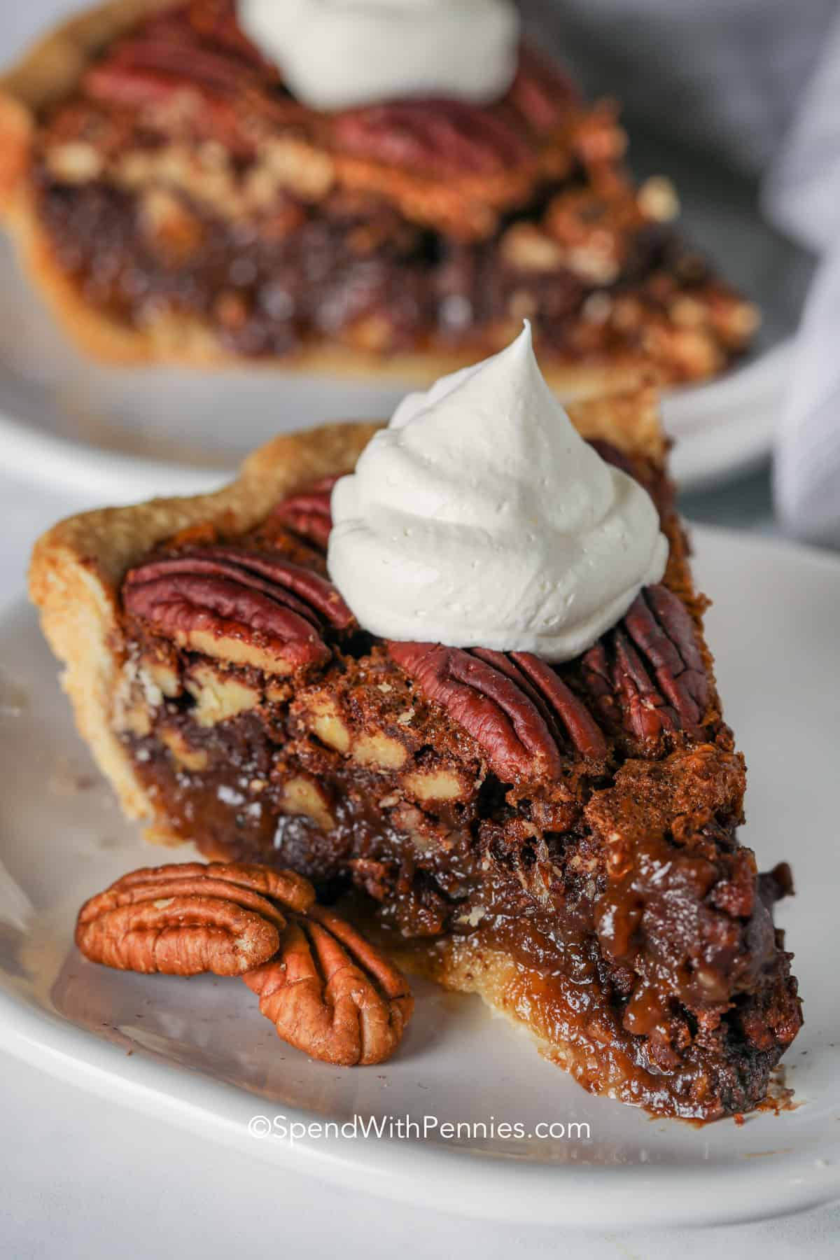Chocolate Pecan Pie with whipped cream