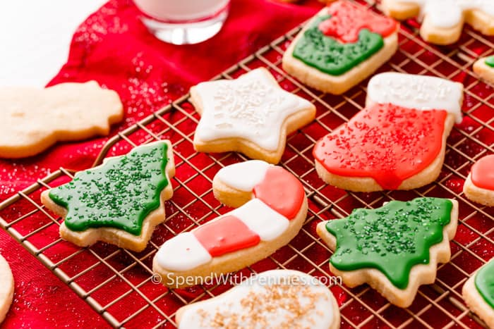 close up of Christmas Cut Out Cookies on a rack