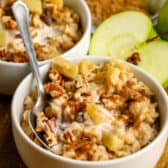 Cinnamon Apple Oatmeal in a bowl with a spoon