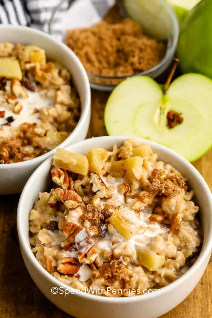 Cinnamon Apple Oatmeal in bowls