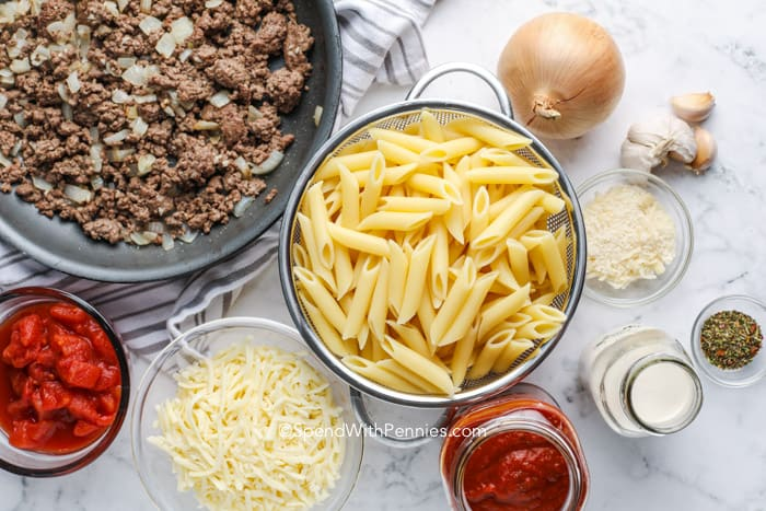 ingredients to make Creamy Baked Mostaccioli