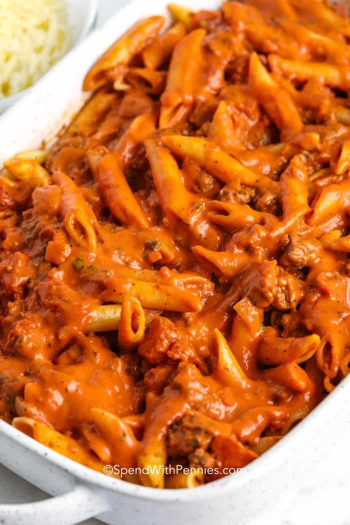 mixed Creamy Baked Mostaccioli in a casserole dish before cooking