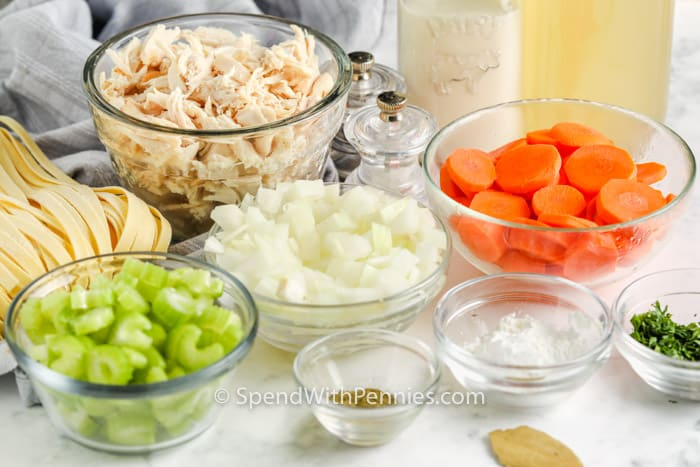 ingredients to make Creamy Chicken Noodle Soup with pasta