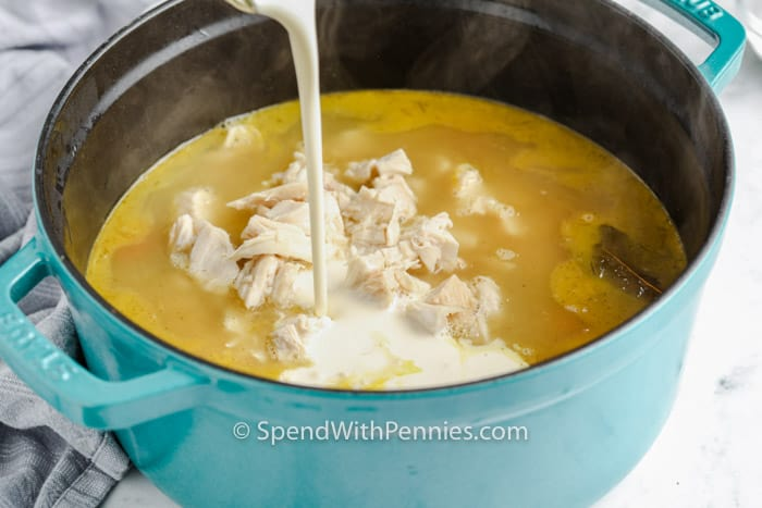 adding ingredients to pot to make Creamy Chicken Noodle Soup
