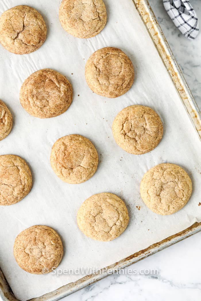 cookies on a pan to show Easy Snickerdoodle Recipe