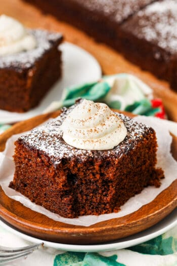 slice of yummy Homemade Gingerbread on a plate with a fork