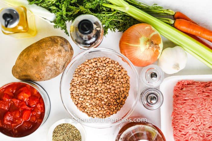 ingredients to make Instant Pot Lentil Soup