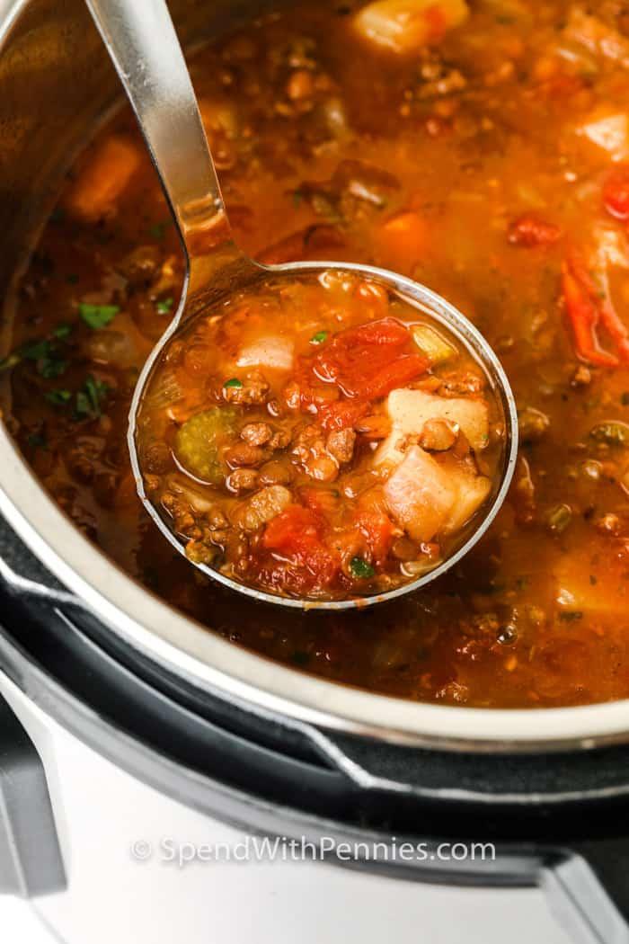 laddle of Instant Pot Lentil Soup