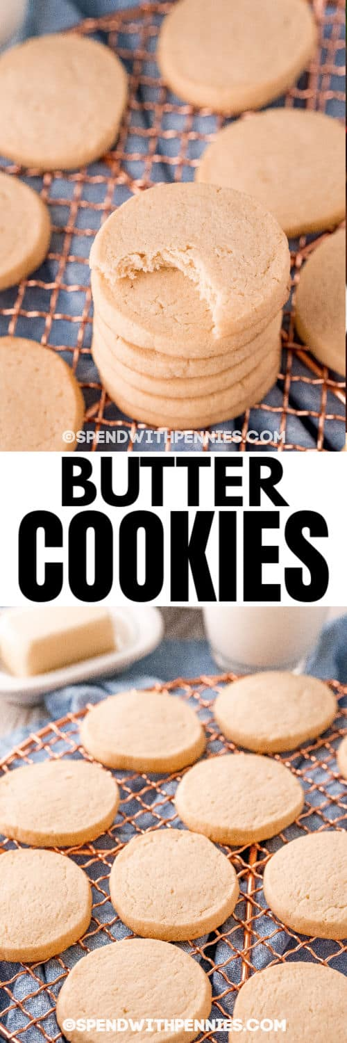 Butter Cookies on the rack and stacked with a title