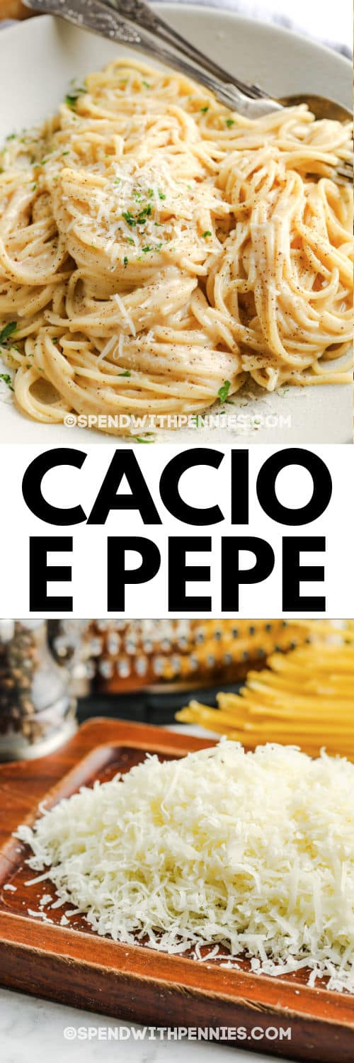 ingredients to make Cacio e Pepe with plated dish and a title
