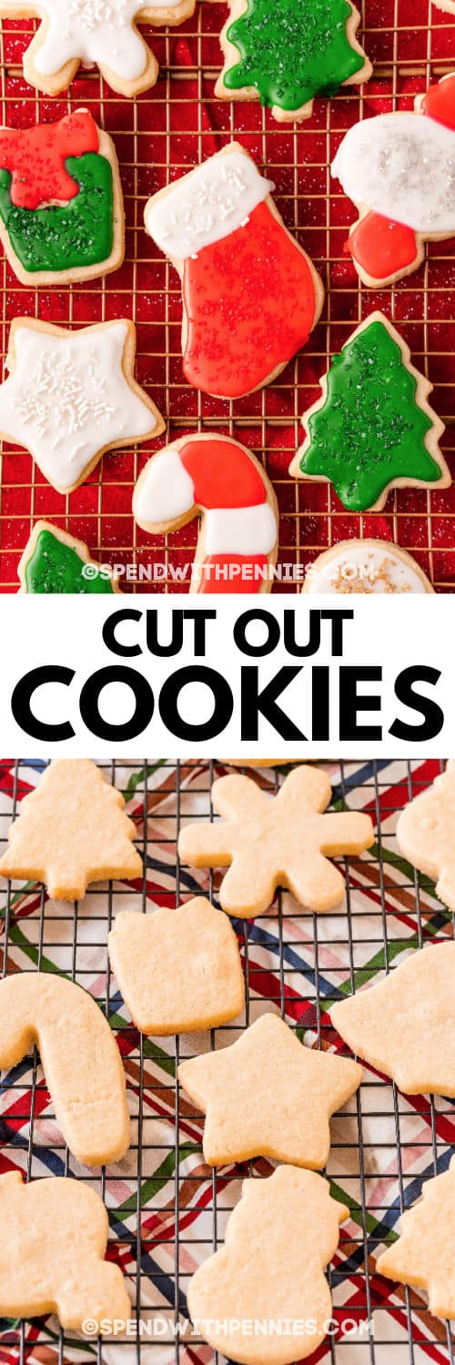 Christmas Cut Out Cookies before and after icing with a title