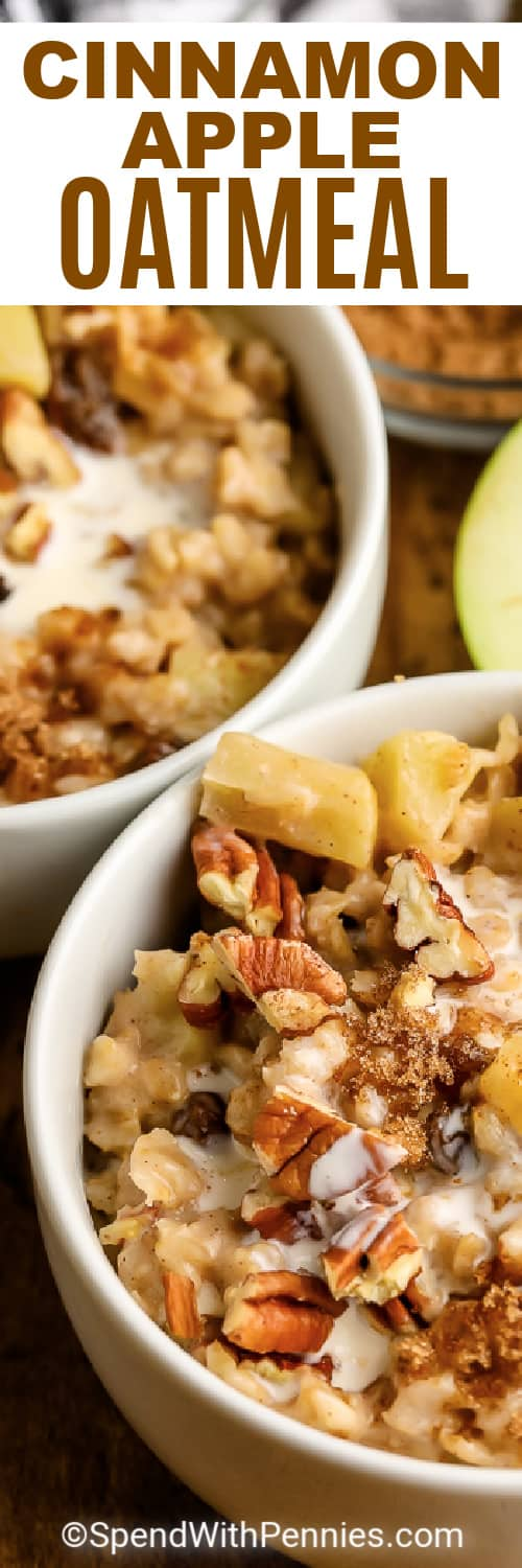 bowls of Cinnamon Apple Oatmeal with writing