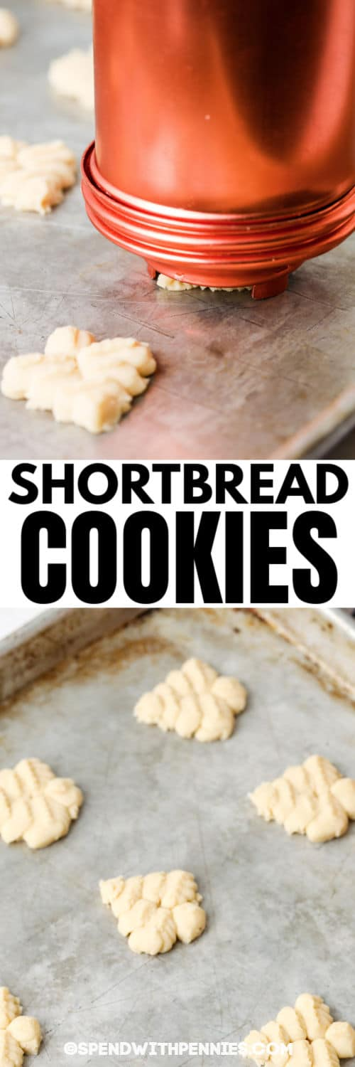 process of making Easy Shortbread Cookies with a title