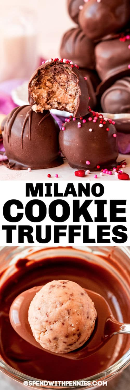 dipping cookie dough in chocolate and finished Milano Cookie Truffles with a title