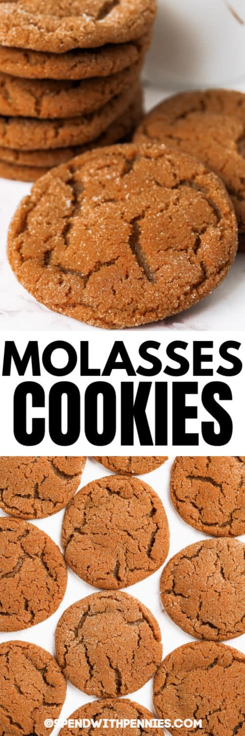 Molasses Cookies in a pile and layed out with a title