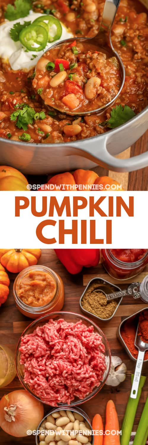 ingredients for Pumpkin Chili and Pumpkin Chili in a pot with a title