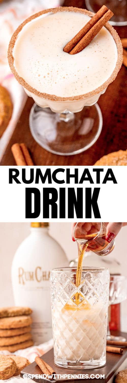 pouring rum into glass to make Snickerdoodle Cocktail with a glass full and a title