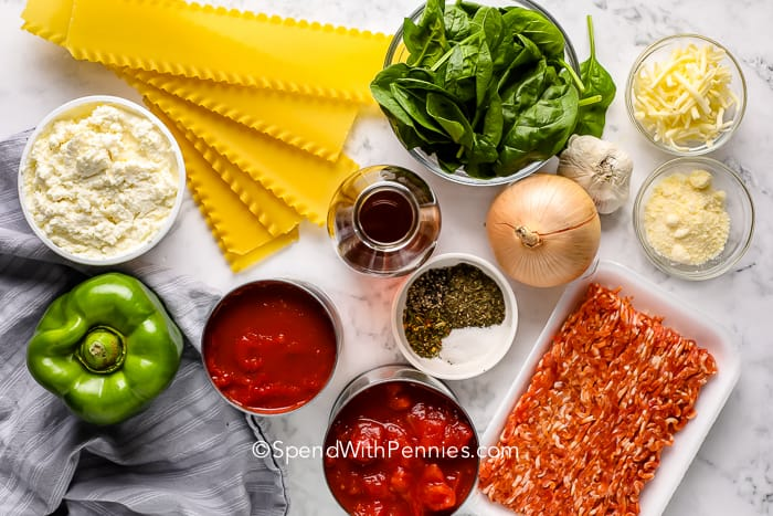 ingredients for Lasagna Soup on a marble board