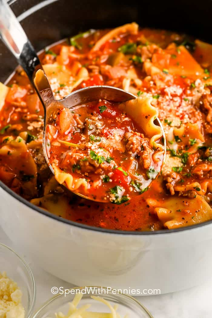 Lasagna Soup in a pot with a ladle