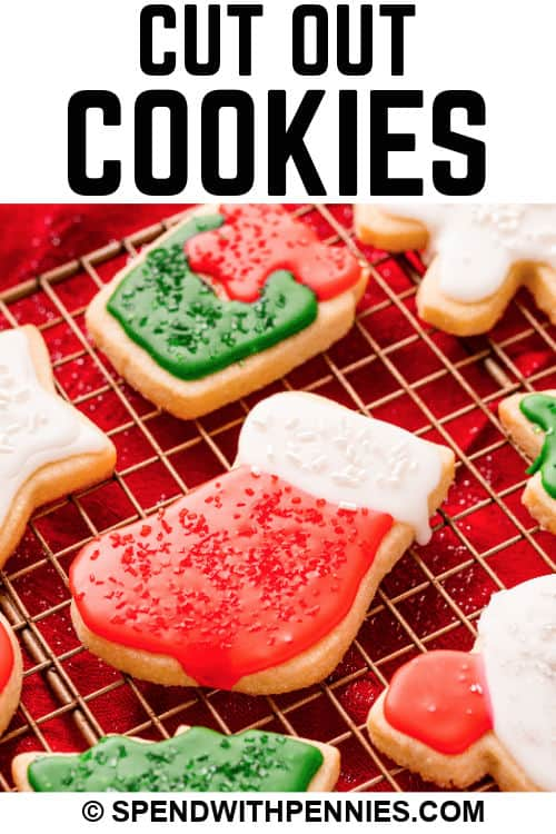 close up of Christmas Cut Out Cookies with a title