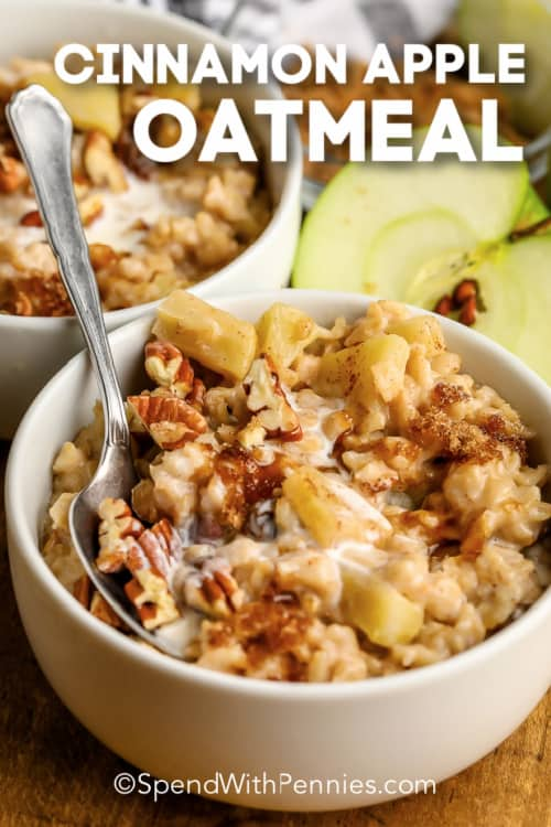 Cinnamon Apple Oatmeal in a bowl with a spoon and text