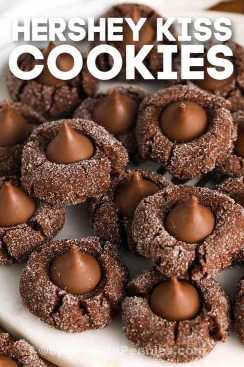 Hershey Kiss Cookies with writing