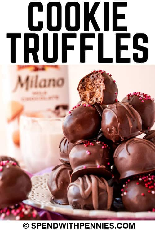 Milano Cookie Truffles with writing